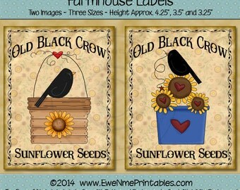 Black Crow and Sunflower Printable Farmhouse Labels - Primitive Rustic Style Lables - Black Crow Sunflower 101 - PDF or JPG File