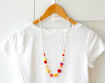 Funky Necklace, Colorful Jewelry, Statement Necklace, Long Necklace, Hot Colors, Lucite Jewelry, Red, Orange, Yellow, Pink, Stering Silver