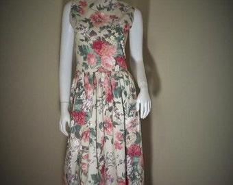 Vintage 50's Style Sun Dress Shabby Chic ROSES M