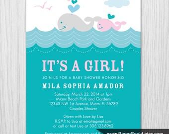 Whale theme Baby Shower Invitation - Girl Baby Shower - Digital File - Printable - Item 146E