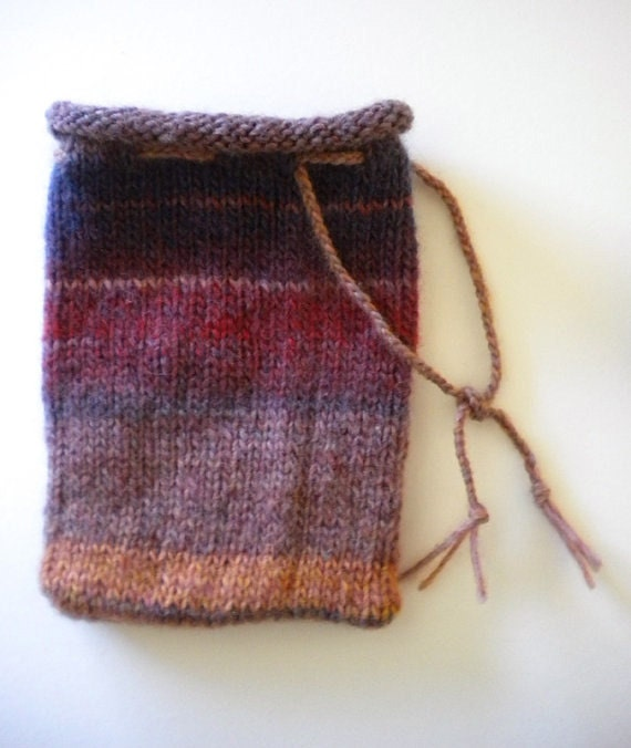Knitting Pattern Small Drawstring Bag : SALE / Drawstring Bag / Knitted Pouch / Knit Purse / Violet