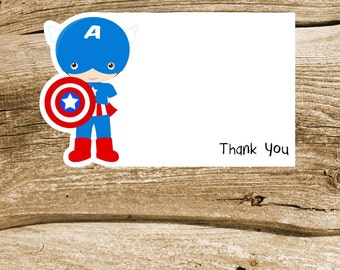 Superhero Friends Party Collection - Set of 8 Captain America Thank You Cards by The Birthday House