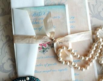 Vintage Romantic Wedding Invitation Suite Handmade SAMPLE by avintageobsession on etsy