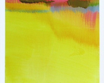 """Yellow Modern Abstract Landscape Art Print, 5x7"""" giclee print, yellow, blue, pink, """"Sun River"""", watercolor print, abstract print"""