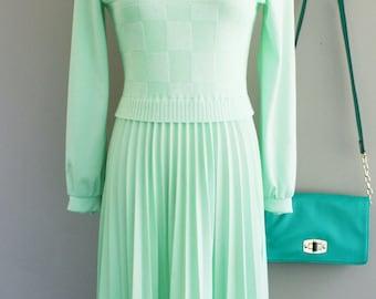 Vintage Day Dress // 1970s Dress // Secretary Dress // Mint Green // Perma Pleat Skirt // Sweater Style // by Bleeker Street // 34 36 Bust