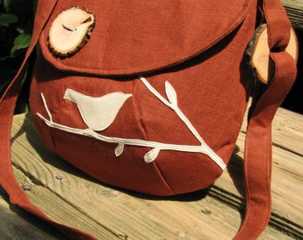 Bird Purse, Appliqued Tote, handmade wood buttons, Vegan handbag, messenger, Shoulder Bag