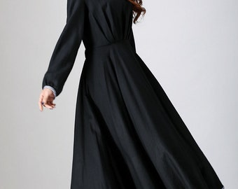 long black dress,  maxi dress, women dresses, linen clothing, long sleeve dress, casual dress with tie belt wasit, made to order dress (787)