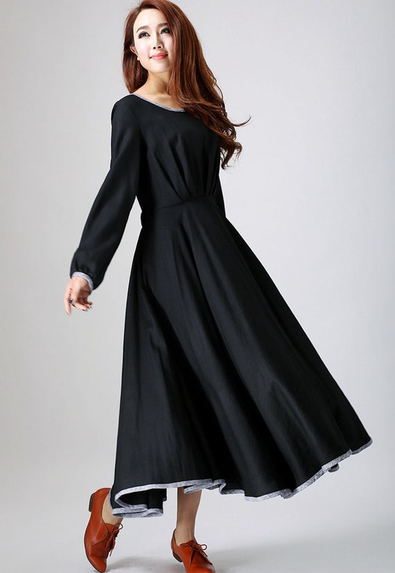 long black dress,  maxi dress, women dresses, linen clothing, long sleeve dress, casual dress with tie belt wasit, made to order dress (787)