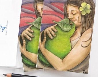 art print cards, watercolor note card set, mother nature art print, pear note cards, spring party invitation