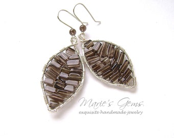 Smoky Quartz Earrings, Leaf, Silver Wire Wrapped, Autumn Jewelry, Fall Fashion, Hostess Gift, Sterling Silver Ear Wires 835