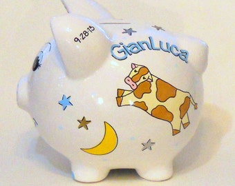 Personalized Piggy Bank with the Cow Jumping Over the Moon