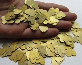 Wedding confetti hearts - gold heart confetti - paper confetti - card stock confetti - gold confetti - weddings