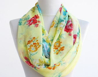 Yellow floral scarf, summer infinity scarf, flower print scarf, chiffon scarves for women,loop scarf mothers day gift for mom, gift for her
