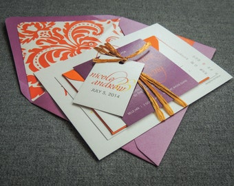 "Purple Floral Invitations, Modern Wedding Invitation, Indian Wedding Cards, Fuchsia & Orange, Damask Wedding - ""Dramatic Script"" FP-NL-v3"