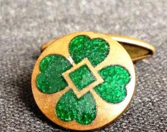 Friday 13th. Lucky four leaf clover vintage single pin cufflink. Good luck charm.