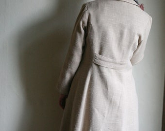 SALE - Ecru Linen Coat jacket - neutral beige 1970ies tailored Linen trench coat size Large