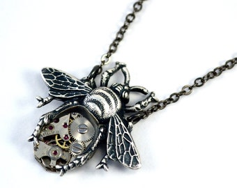 Bee Necklace, Steampunk Bee Pendant, Silver Bee