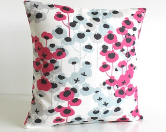 Floral pillow cover, hot pink pillow sham, cushion cover, flowers, pillowcase, accent pillow cover - Delicate Flowers Hot Pink