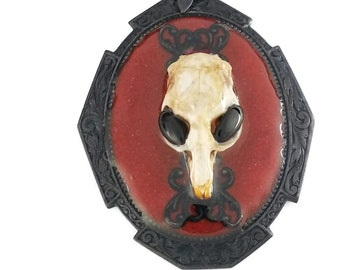 Gothic Area 51 Mouse Skull Necklace in black plated brass and red resin by Dr Brassys Steampunk