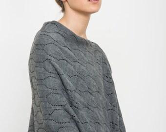 Buy 1 get 1 sale Gray poncho, women knitted jacket, grey cardigan Feminine Shawl