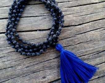 Lava Knotted Mala Necklace, Tassel Mala Necklace, Black Lava Mala Beads Long Tassel Necklace, Yoga Meditation Beads, Santorini Mala Necklace
