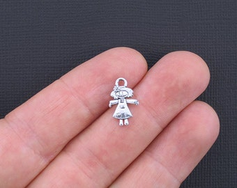 SALE 10 Girl Charms Antique Silver Tone 2 Sided - SC2290