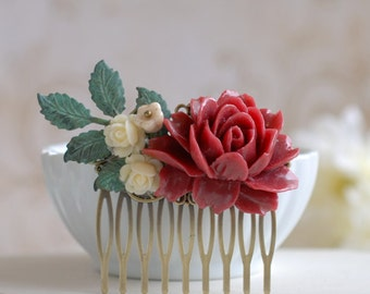 Rustic Shabby Chic Maroon Red Rose Hair Comb, Verdigris Blue Brass Leaf  Ivory Maroon Burgundy Floral Comb, Rustic Wedding Bridal Comb