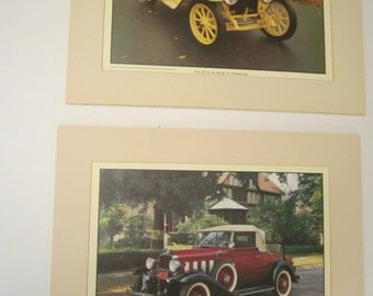Pair of Large Roy Query Antique Car Portraits - Gorgeous Matted and Unframed Photographic Prints - Stutz Bearcat and Chevrolet Cabriolet