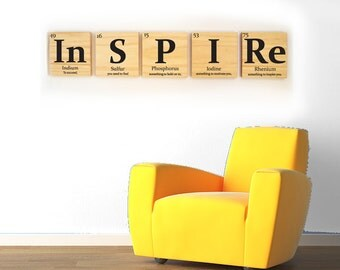 INSPIRE wooden tile wall art- with quote- Periodic table of elements