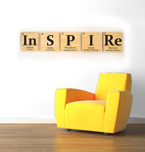 inspire wooden tile wall art with quote periodic table of. Black Bedroom Furniture Sets. Home Design Ideas
