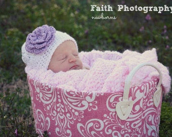 Crochet Girls Hat - Baby Hat - Toddler Hat - Newborn Hat - Spring Hat - White with Purple Flower - Available in sizes Newborn to 3 Years