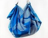 Dots furoshiki bag (blue) & white leather carry strap set