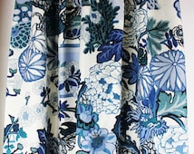 Schumacher Chiang Mai Dragon in China Blue - One Pair of  Lined and Pleated Drapes