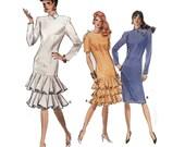 "EASY Dress Sewing Pattern Drop Waist 80s Flounce Skirt Bias Collar Cocktail Dress UNCUt Size 18 20 22 Bust 40-44"" (102-112 cm) Vogue 7094 S"