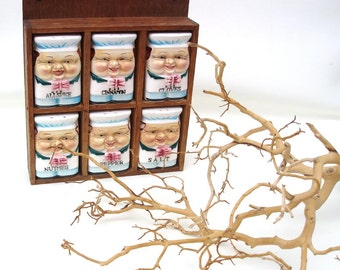 Vintage Spice Rack, Spice Jars Set, Wooden Wall Shelf, Little Chef, Ceramic Spice Bottles - Blue White
