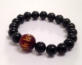 Mens Inspirational Jewelry, Men Beaded Bracelet, Prayer Mala Beads, Meditation Buddhist bracelet Om Mani Mantra Spiritual Gift Wood Bracelet