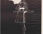 Reserved for Elizabeth - Coat Dress Fashion Sketch, White Gloves, Bouffant Hair, White on Black Drawing, High Fashion Print Ad 1966
