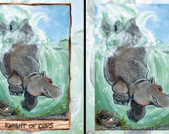 Hippo Art, Knight of Cups, Oyster Shell, Hippopotamus Gift, Nautical Decor, Animism Tarot Deck, Custom Size, Large Print, ACEO Card