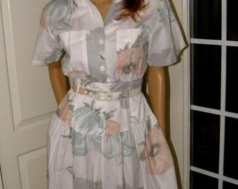 Crisp Vintage Midi Shirtwaist Dress Full Skirt with Pockets White Cotton Grey Mint & Pink Carol Anderson Brand