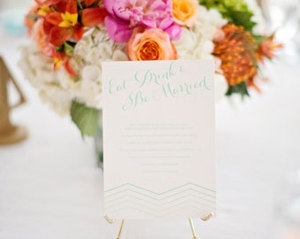 Eat Drink and Be Married Wedding Menu, Customizable