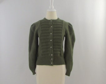 On Sale Victorian Revival Sweater - Vintage 1980s Fitted Cardigan in Moss Green - Small by Gobl