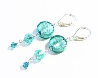 Murano Glass Sea Green Long Earrings, Dangle Earrings, Venetian Jewelry, Leverback Earrings, Italian Jewelry, Sea Foam Jewelry, Gift Idea