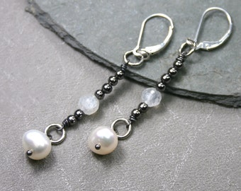 Freshwater Pearl Earrings with Pyrite, Rose Quartz and Sterling Silver