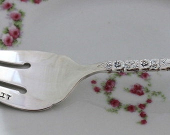 VINTAGE Silverplate Meat Serve Fork Silverware Fork Hand Stamped with FORK IT Floral Queen