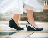 Wedding Shoes - Navy Blue Wedges, Bridal Heels, Navy Wedges, Blue Wedges, Bridal Heels, Bridal Heels, Wedges with Ivory Lace. US Size 9