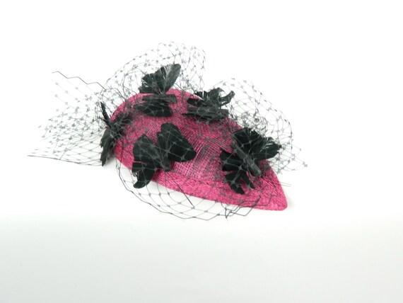 Pink and Black Veiled Fascinator - 'Black Butterflies'