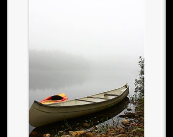 Canoe Kayak PRINT Fine Photo room wall home Decor Country Fog Birthday Gift for him Rustic cottage cabin Artwork Notecard Picture Poster Men