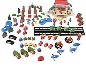 Vintage Wooden Airport Terminal Play Set, 107 Piece Set, Olives and Doves