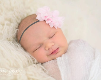 Pink Baby Headband Baby Bow Newborn Headband Baby Hairbow Hair Bow Pink Baby Bow Flower Headband Infant Headband Vintage Headband for Babies