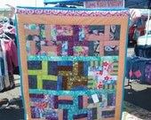 Hippie Lap Quilt, Crazy Fabrics, VW Bus, Festival Blanket ,Bonnaroo, Peace, Mushrooms, Rail Fence Quilt, Pieced and Quilted, couch throw